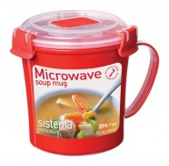 Sistema Mikrowellen-Suppentasse rund rot/ transparent 656 ml