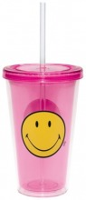 ZAK Smiley Becher mit Trinkhalm himbeere 49 cl